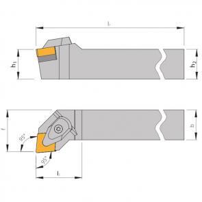 Dimensiones Portaherramientas DCLN con Sistema de Sujeción por Brida
