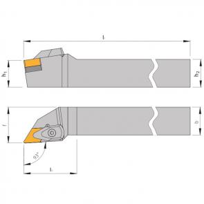 Dimensiones Portaherramientas DDJN  con Sistema de Sujeción por Brida