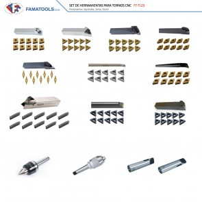 Set de Herramientas para CNC Tornos FT-TL25 (Imágenes ilustrativas, pueden variar al producto real)