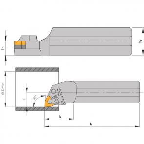 Dimensiones Portaherramientas A-DWLN con Sistema de Sujeción por Brida con Tiro