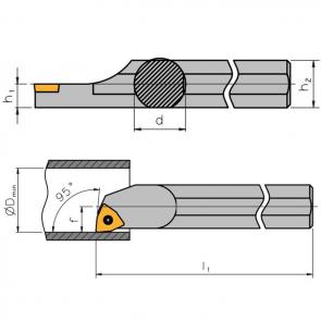 Dimensiones Portaherramientas S-SWLC con Sistema de Sujeción por Tornillo