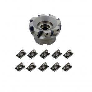 Set  Fresado-Aluminio  Ranurado, ,Rampa, Cavidades, Corte Lateral, Corte Helicoidal, Corona 100mm con Insertos geometria EAXET para Aluminios.
