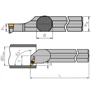 Dimensiones Portaherramientas S-SDUC con Sistema de Sujeción por Tornillo