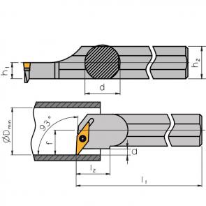 Dimensiones Porteherramientas S-SVUC con Sistema de Sujeción por Tornillo