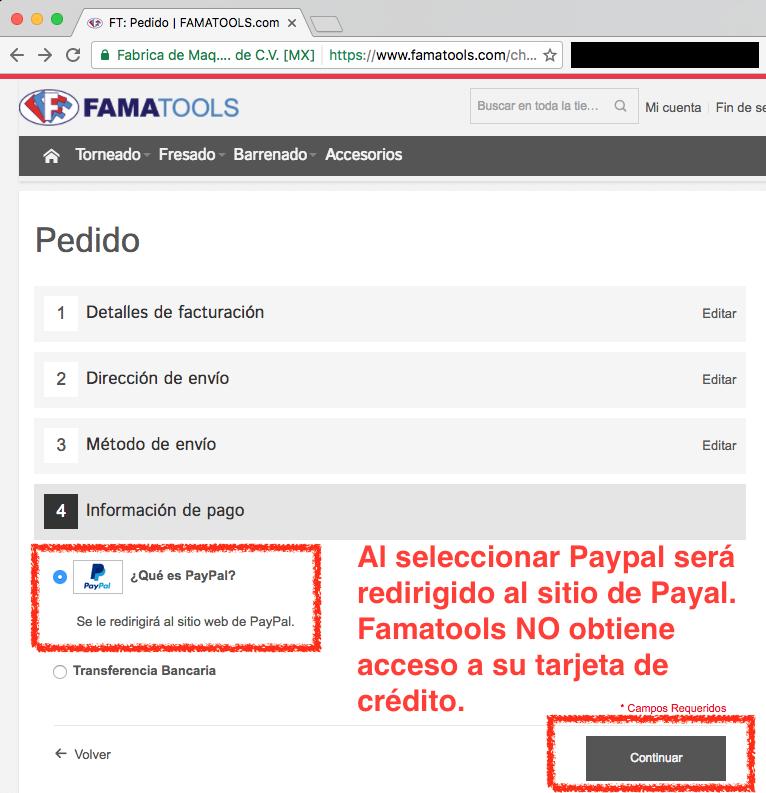 Famatools nunca obtiene acceso a sus datos de Tarjeta de Crédito
